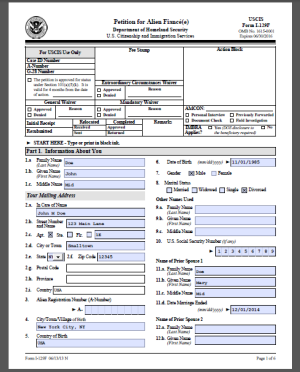 I-129F sample form completed for the fiance visa petition
