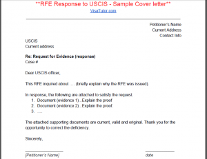 RFE Response Sample Cover Letter for the I-129F fiance k1 visa