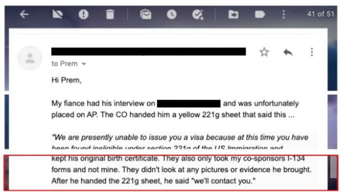 example of a 221g denial at the fiance visa interview