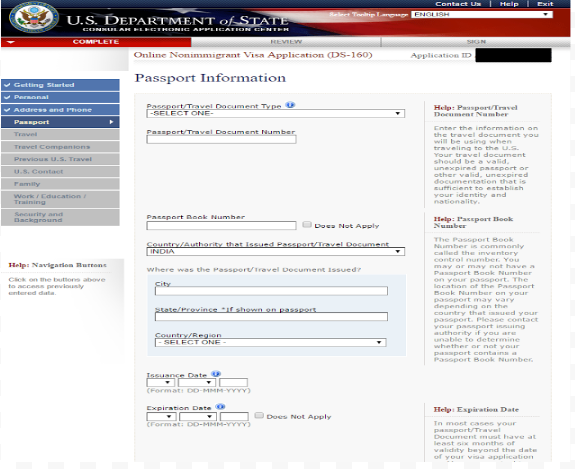 "step 7 filling out ""passport information"""
