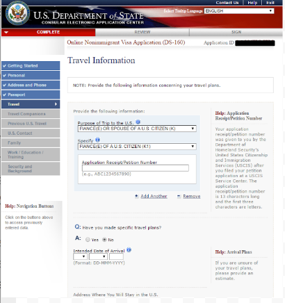 "Step 3 is Filling out ""travel information"""