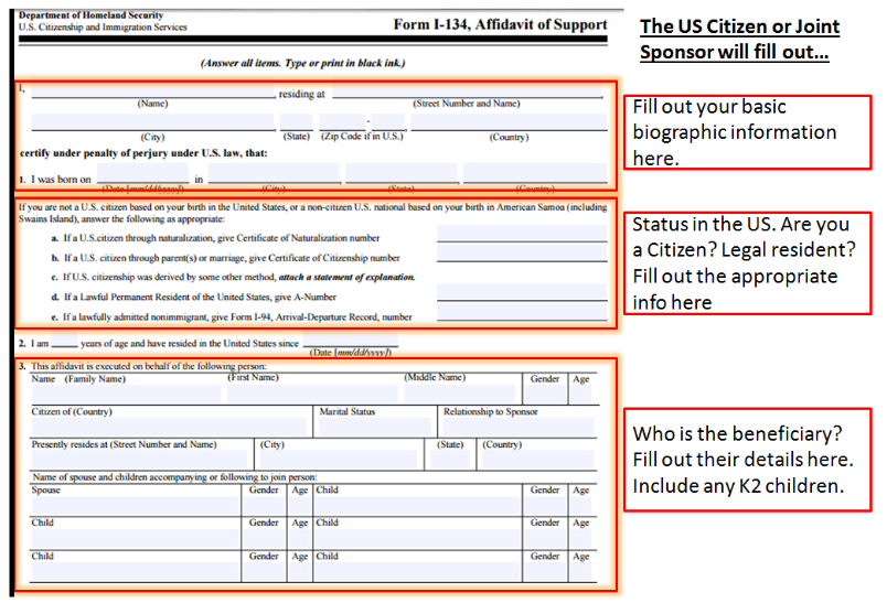 How to prepare the I-134 form