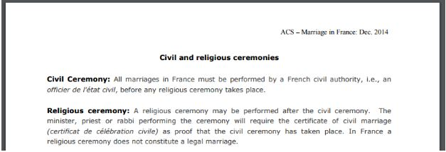 France considers a civil ceremony to be legally married not a religious ceremony for the K-1 petition