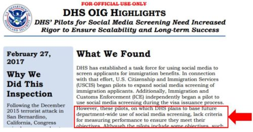 The DHS reports confirmed that their use of social media vetting for K-1 fiance visa cases didn't produce credible results