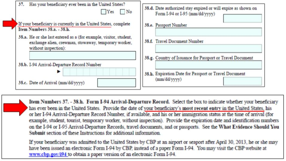 Form I-129F question 37-3h.a asks about your fiance's travel history to the US. But the question is unclear.