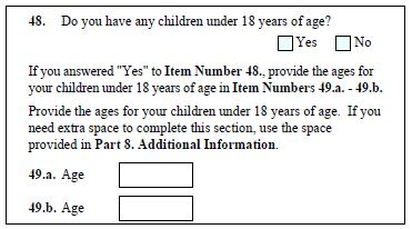 Form I-129F question 48-49.b asks about the US petitioner's children under age 18