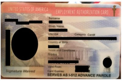 How the employment authorization document I-766 combo card looks like