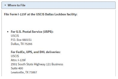 Our completed I-129f petitions are sent to the lockbox facility in Dallas Texas