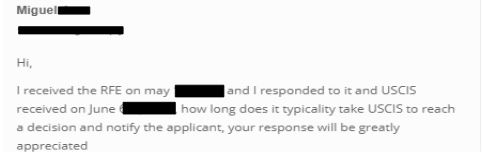 The USCIS usually responds within 1-2 weeks after you submit your RFE response for the I-129F petition for a fiance