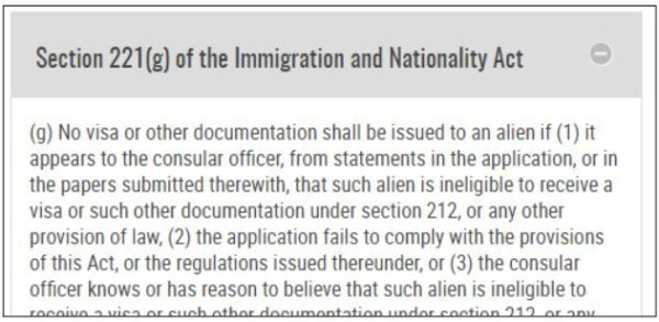 The 221(g) denial ineligibility for the fiance visa means you have a temporary denial at the k-1 visa interview