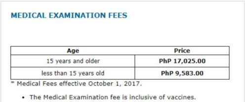 the clinic in the Philippines charges a flat rate for K visa medical exam and vaccinations