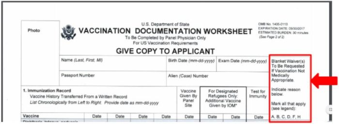 the DS-3025 has a spot for K visa blanket waivers for immunizations