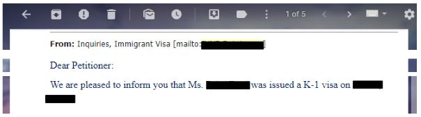 The US Embassy informed us about our K-1 visa approval