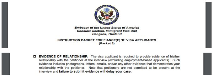 The US Embassy offer little help in elaborating what is good proof of relationship for your k1 visa interview