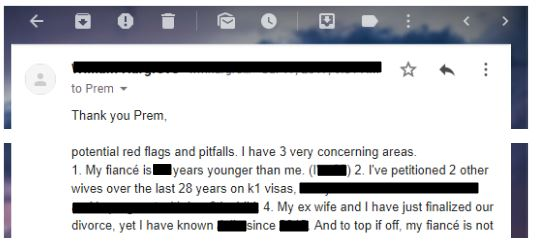 past divorces to k visa applicants is a red flag if it's too quick
