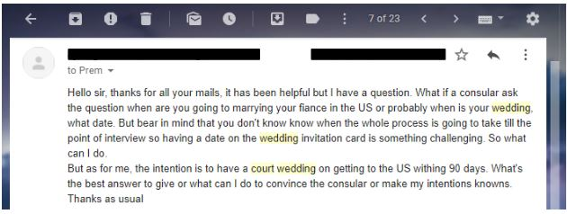 a reader wanted to know if it was okay to go to the courthouse to get married with a k-1 visa