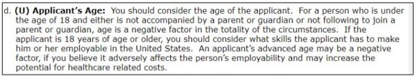 An applicants age is the first factor of the totality of circumstances for the fiance K-1 visa and I-134