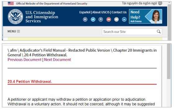 the USCIS adjudicator's manual discusses the steps for applicants to withdraw their petitions