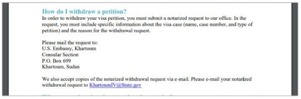 The US Embassy in Sudan instructions on how to withdraw your fiance visa petition