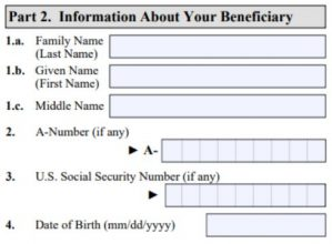 I-129F instructions screenshot about beneficiary's birth certificate