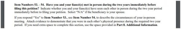 The circumstances of in-person meeting instructions are vague in the I-129F