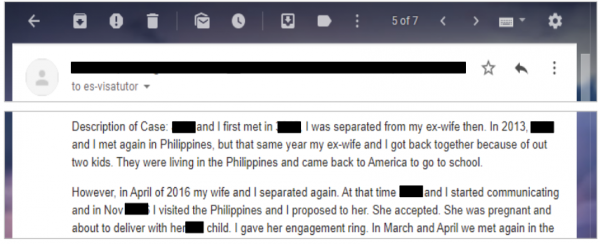 an applicant who asked about dating his fiance before filing the I-129F and divorcing his ex-spouse