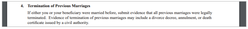 I-129f instructions about submitting divorce documents