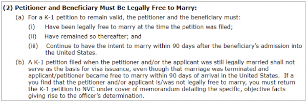the K visa requirement is to be free to marry