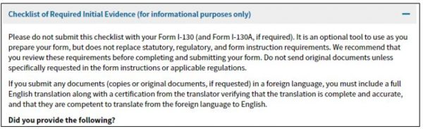 checklist for I-130 paperwork shows different requirements than fiance visa