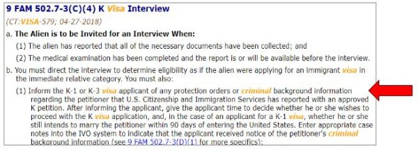 official rules say to check criminal history. This is important for red flag fiance visa cases