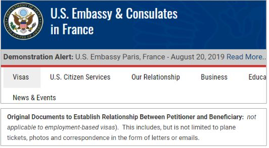 The French US consulate doesn't provide guidance to fiance visa applicants about sending money