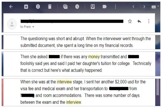 example of a denied k-1 visa interview where they sent money and it was seen as a red flag.