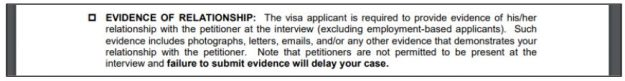 the US Embassy in Thailand provides K-1 visa instructions for proof of relationship