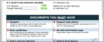 what documents are required for the K-1 visa interview?