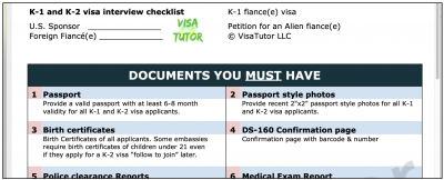 checklist for the K-1 visa interview
