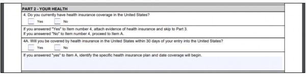 Part 2 asks for health information including health insurance coverage