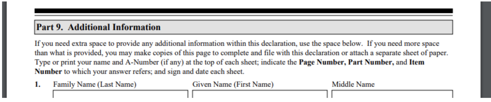 Part 9 additional information for the I-944 form