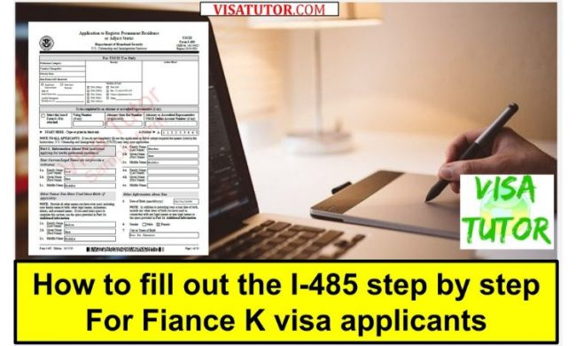 line by line instructions to fill out the I-485 for K visa applicants