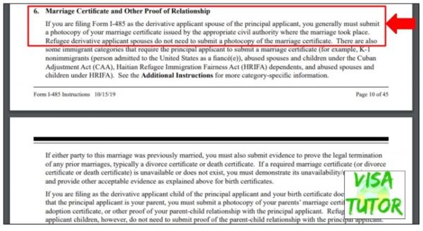 A screenshot of the I-485 instructions which say to include marriage certificates and other proof of relationship for K visa holders