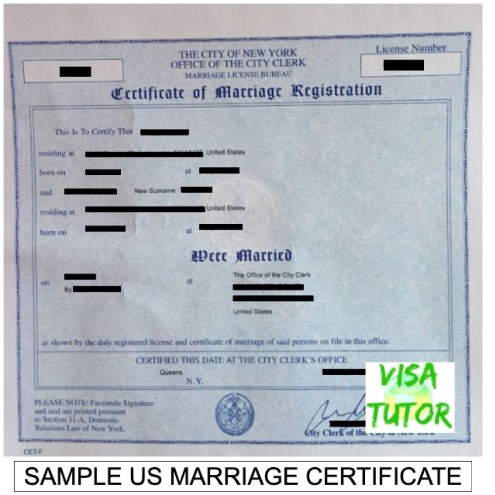 This is how a typical marriage certificate looks which is acceptable for the I-485 application