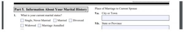 A screenshot of the I-485 instructions asking for past marriage details