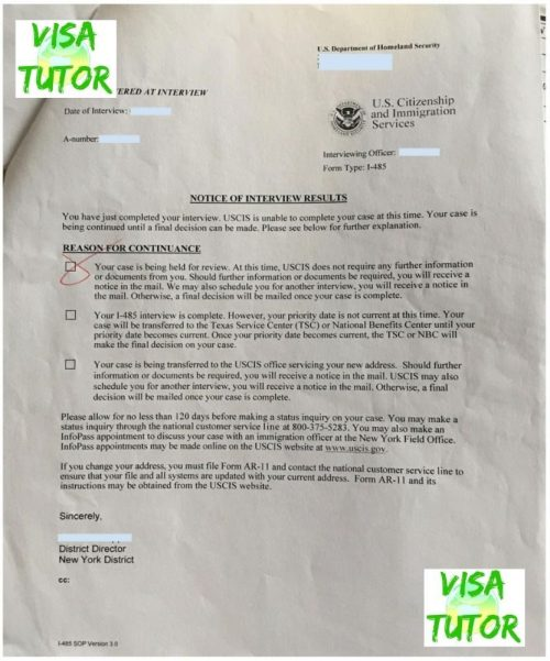 """Notice of Interview"" results at the end of the Green Card Interview"
