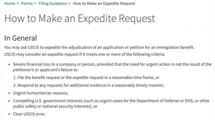 this screenshot shows what the USCIS considers acceptable for an expedite request for immigrant visas